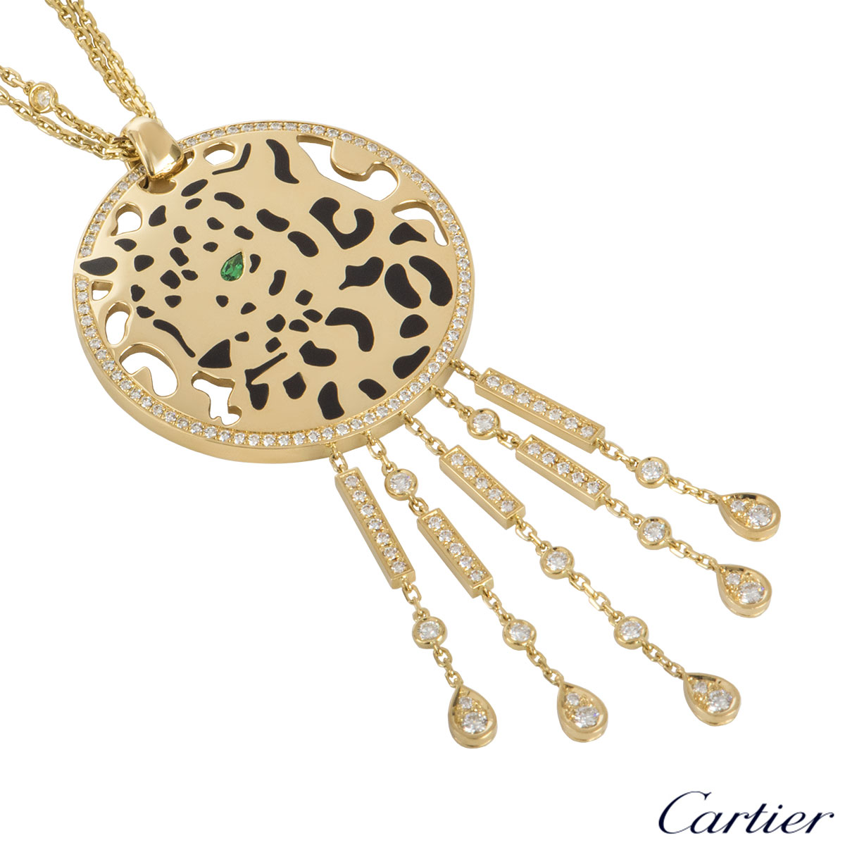 Cartier Yellow Gold Diamond, Garnet And Lacquer Panthere Necklace CRN7065400